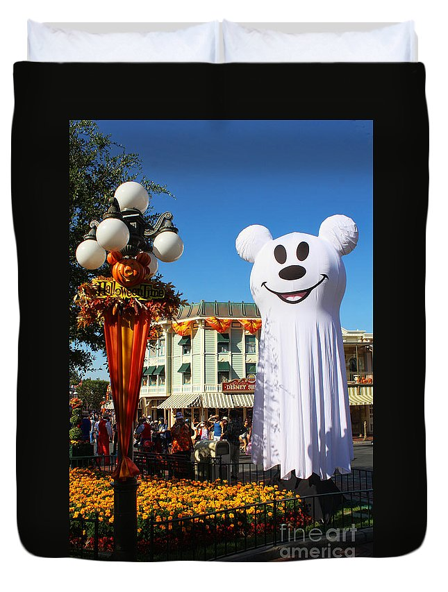 Disneyland Duvet Cover featuring the photograph Disneyland Halloween 1 by Tommy Anderson