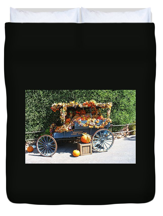 Disneyland Duvet Cover featuring the photograph Disneyland Halloween 2 by Tommy Anderson