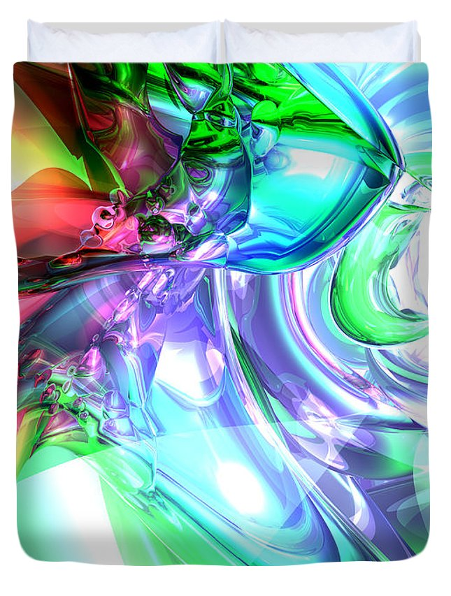 3d Duvet Cover featuring the digital art Disorderly Color Abstract by Alexander Butler