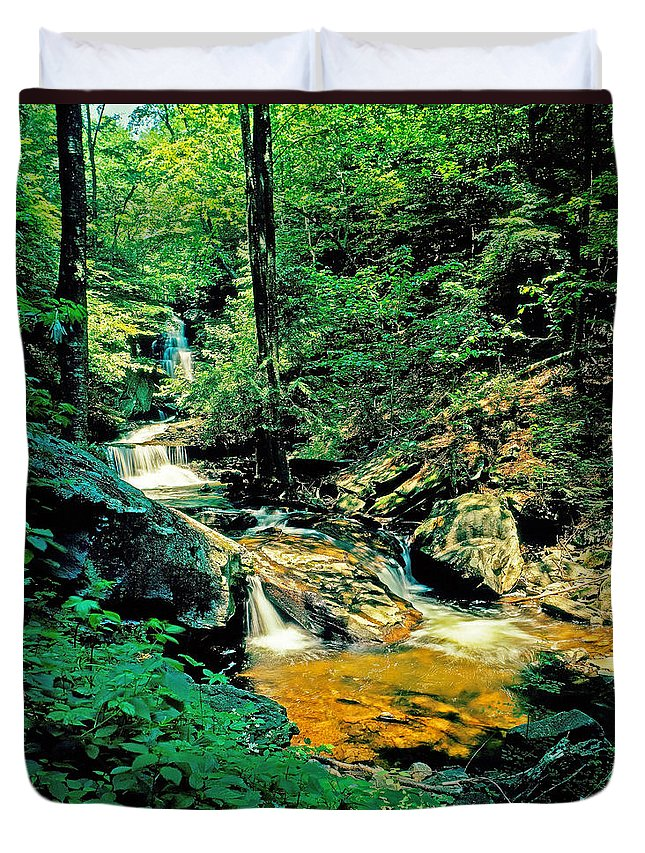 Pennsylvania Duvet Cover featuring the photograph Distant Ozone Falls And Rapids - Summer by Rich Walter