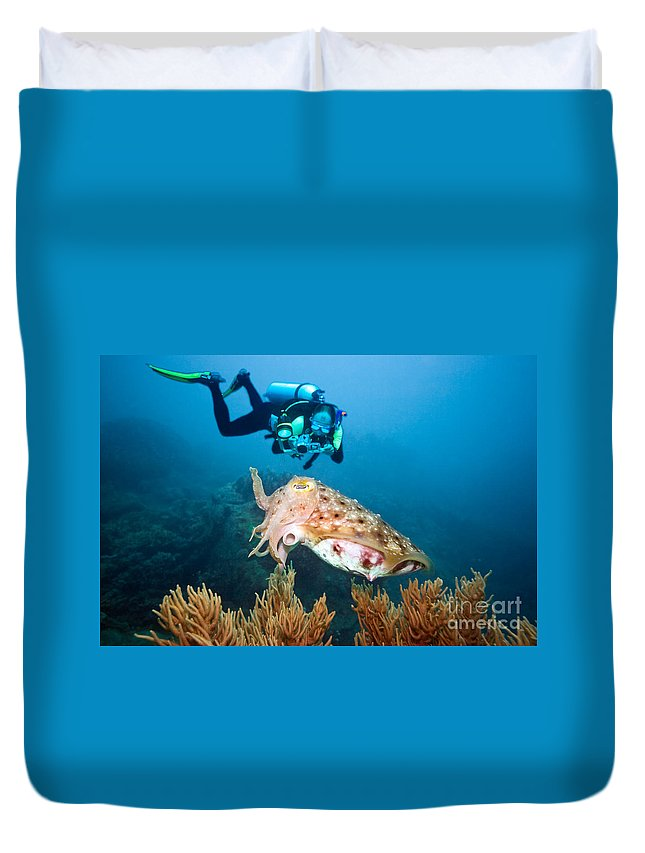 Active Duvet Cover featuring the photograph Diver And Cuttlefish by MotHaiBaPhoto Prints