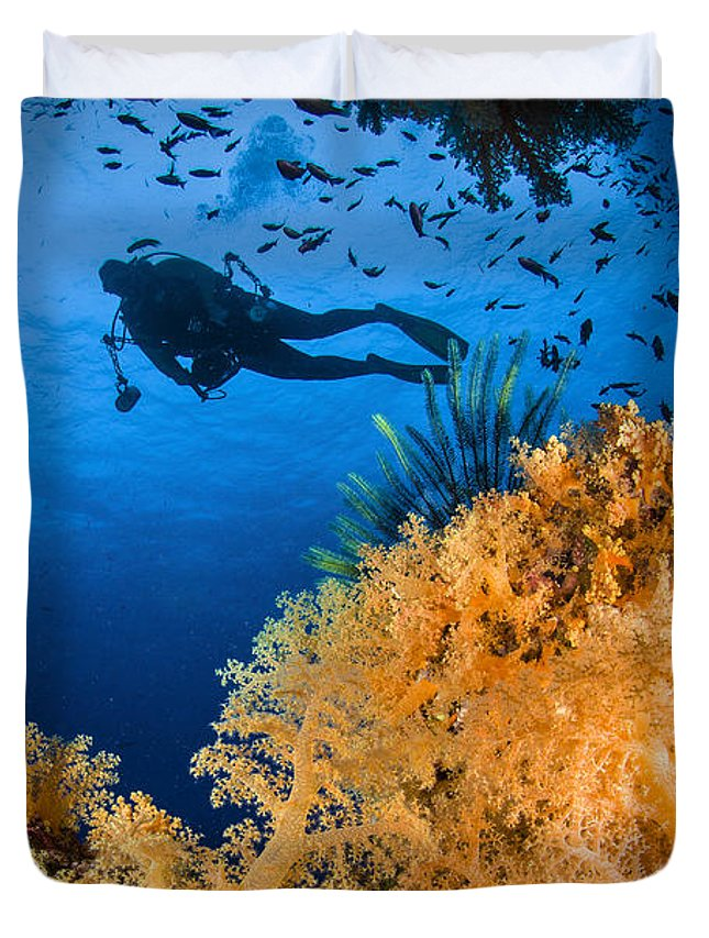 Crinoid Duvet Cover featuring the photograph Diver Swimms Above Soft Coral, Fiji by Todd Winner