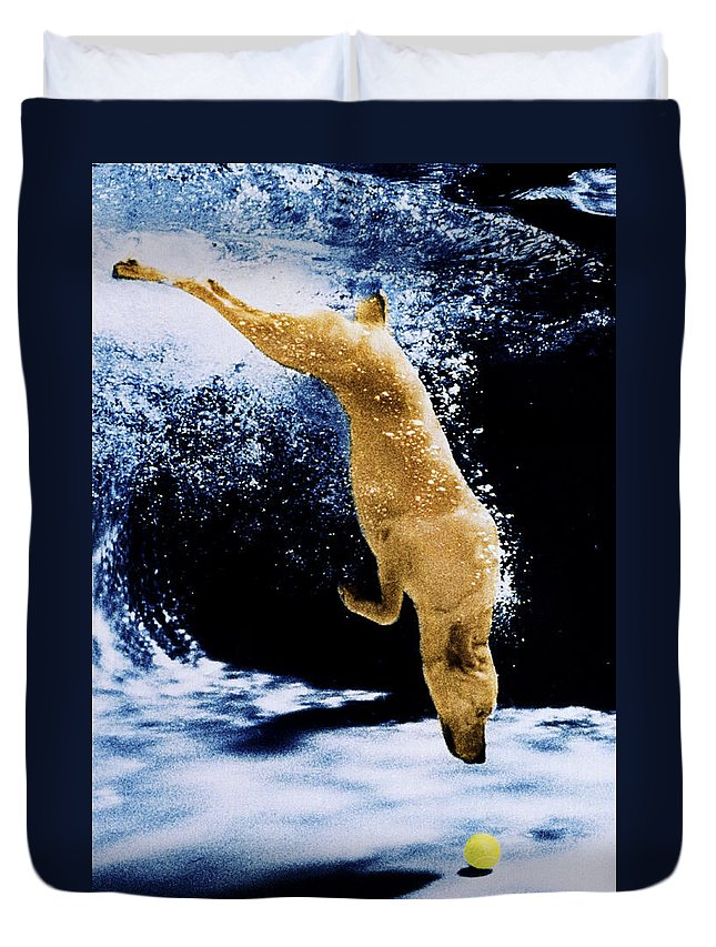 Dog Duvet Cover featuring the photograph Diving Dog by Jill Reger