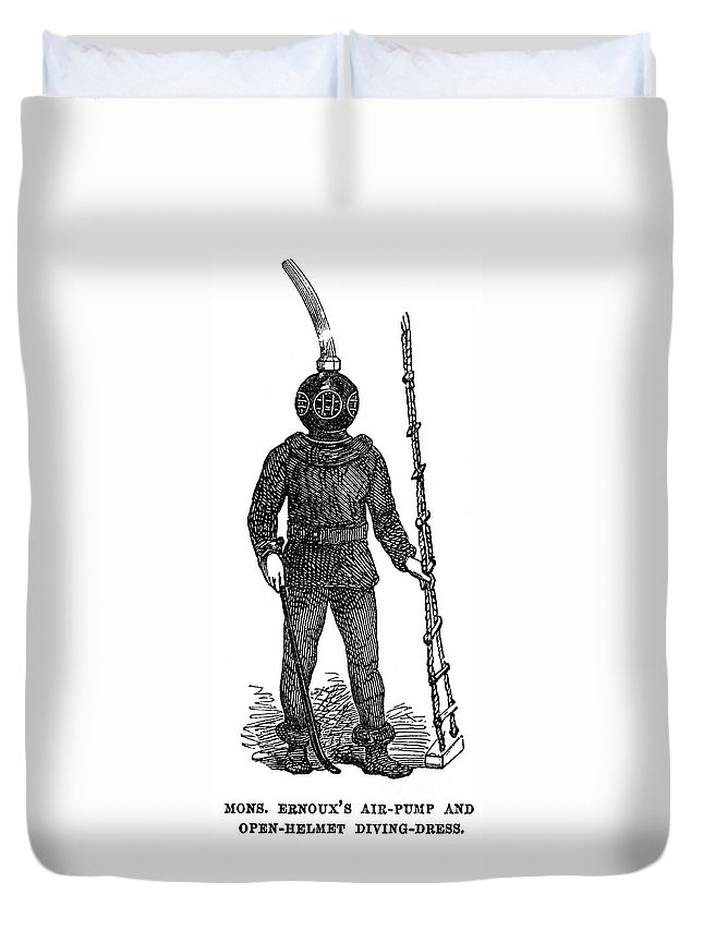 1855 Duvet Cover featuring the photograph Diving Suit, 1855 by Granger