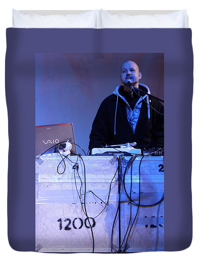 Dj Duvet Cover featuring the photograph Dj Peter Pan In Bethlehem by Munir Alawi