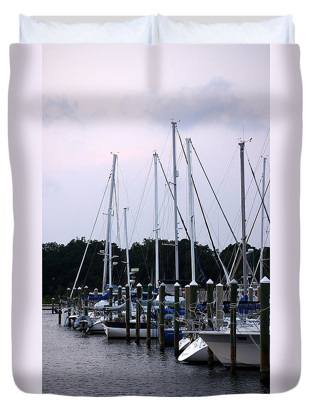 Boats Duvet Cover featuring the photograph Docked by Paul Wilford