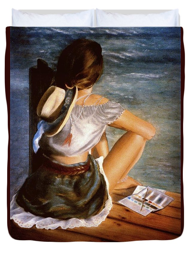 Pier Duvet Cover featuring the painting Dockside Daydreaming by Nancy M Garrett