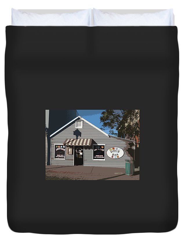 Doc's Bar Duvet Cover featuring the digital art Doc's Bar by Rhodes Rumsey