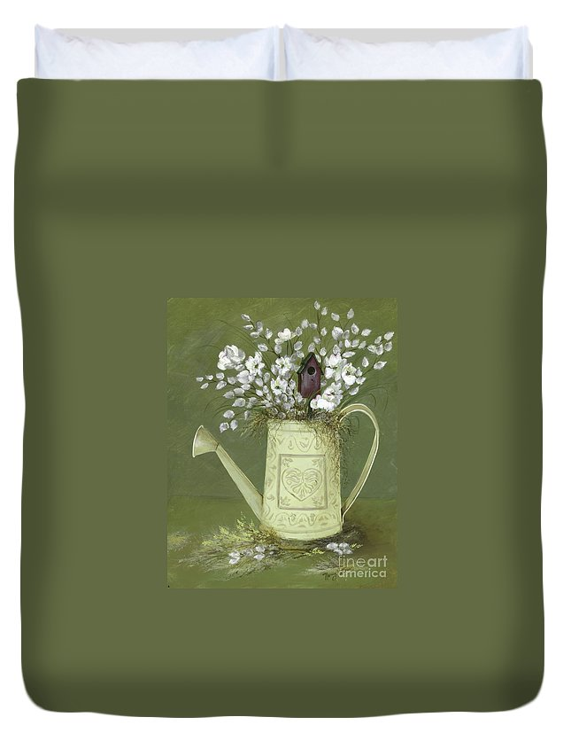 Watering Can Duvet Cover featuring the painting Dogwood Cuttings by Nancy Patterson
