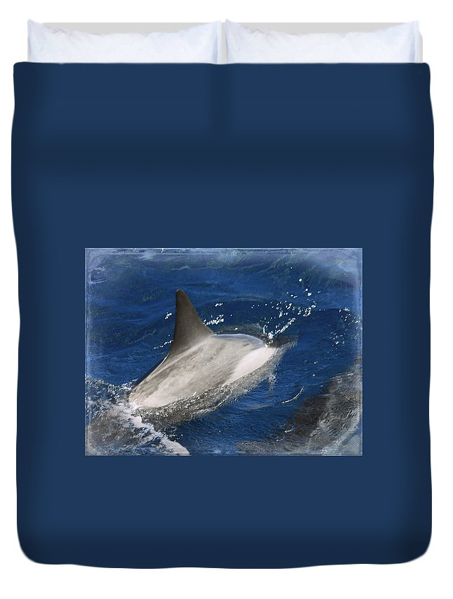 Nature Duvet Cover featuring the photograph Dolphin Escort by Paulette B Wright