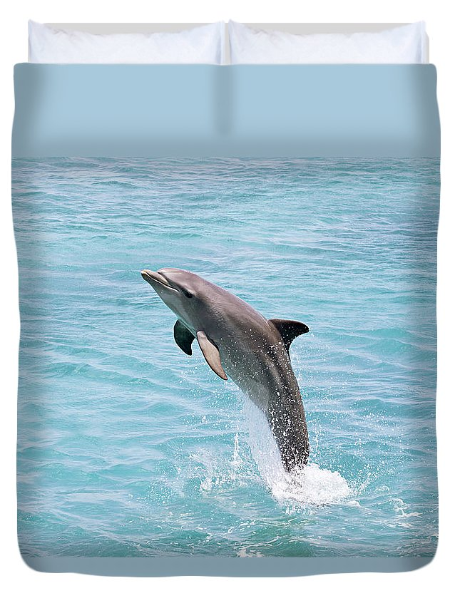 Aqua Duvet Cover featuring the photograph Dolphin Jump by Dave Fleetham - Printscapes
