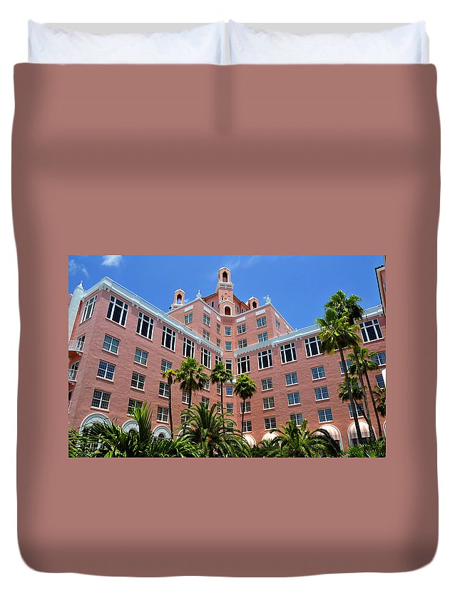 Fine Art Photography Duvet Cover featuring the photograph Don Cesar And Palms by David Lee Thompson