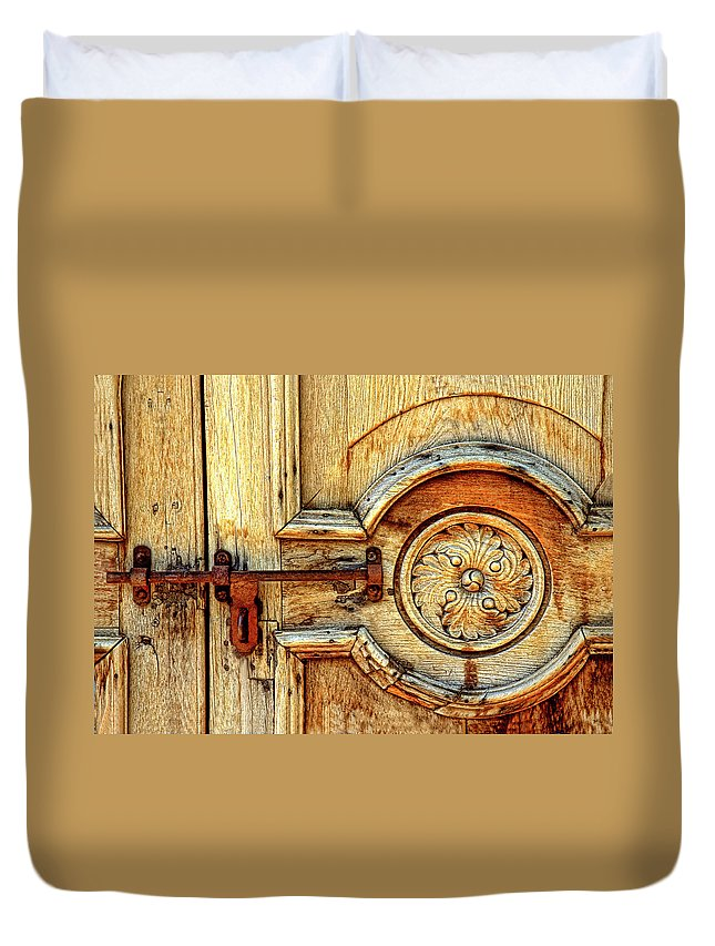 Door Study Duvet Cover featuring the photograph Door Study Taos New Mexico by Dave Mills