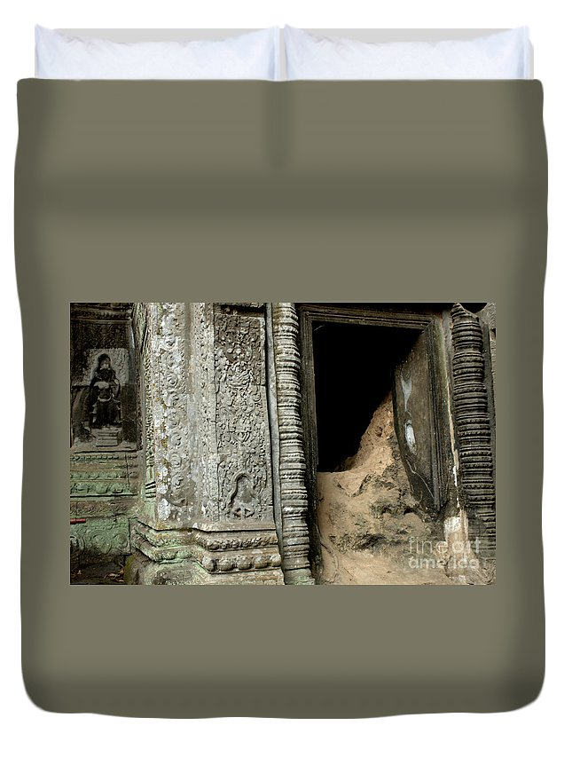 Cambodian Youth Duvet Cover featuring the photograph Doorway Ankor Wat by Bob Christopher