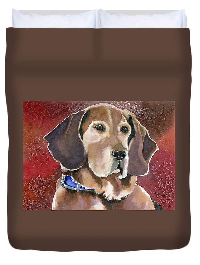 Dog Duvet Cover featuring the painting Dottie by Marsha Elliott
