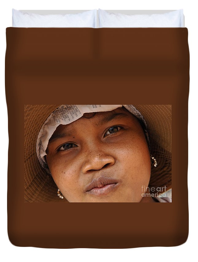 Cambodian Youth Duvet Cover featuring the photograph Cambodian Girl by Bob Christopher