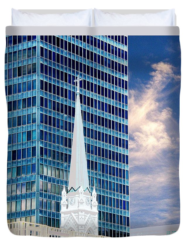 Architecture Duvet Cover featuring the photograph Downtown Blues by Lizi Beard-Ward