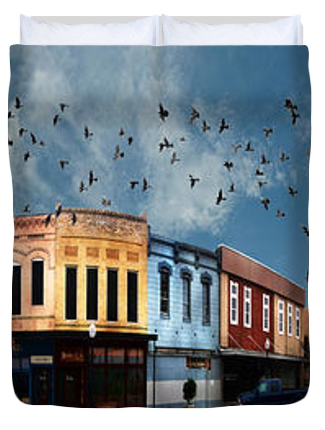 Bryan Duvet Cover featuring the digital art Downtown Bryan Texas 360 Panorama by Nikki Marie Smith