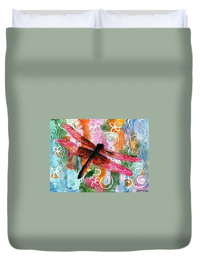 Dragonfly Art Duvet Cover featuring the painting Dragonfly Fairy I by Miriam Schulman
