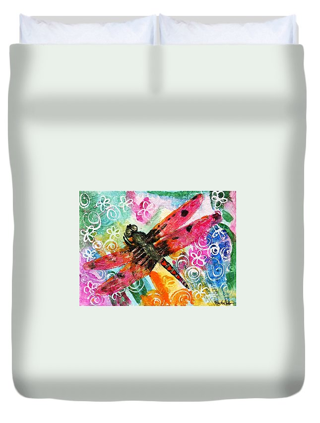 Dragonfly Art Duvet Cover featuring the painting Dragonfly Fairy II by Miriam Schulman