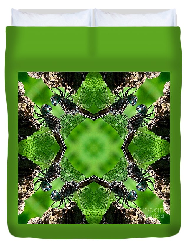 Insect Duvet Cover featuring the digital art Dragonfly Kaleidoscope by Smilin Eyes Treasures