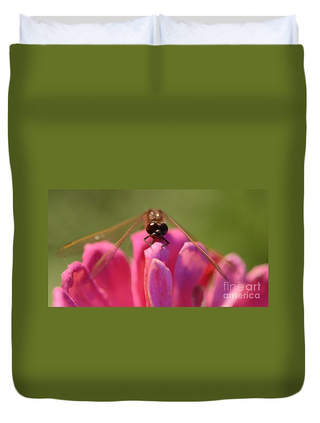 Dragonfly Duvet Cover featuring the photograph Dragonfly On Pink Flower by Bob Christopher