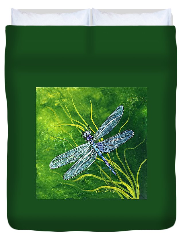 Bug Duvet Cover featuring the painting Dragonfly by Sherry Shipley