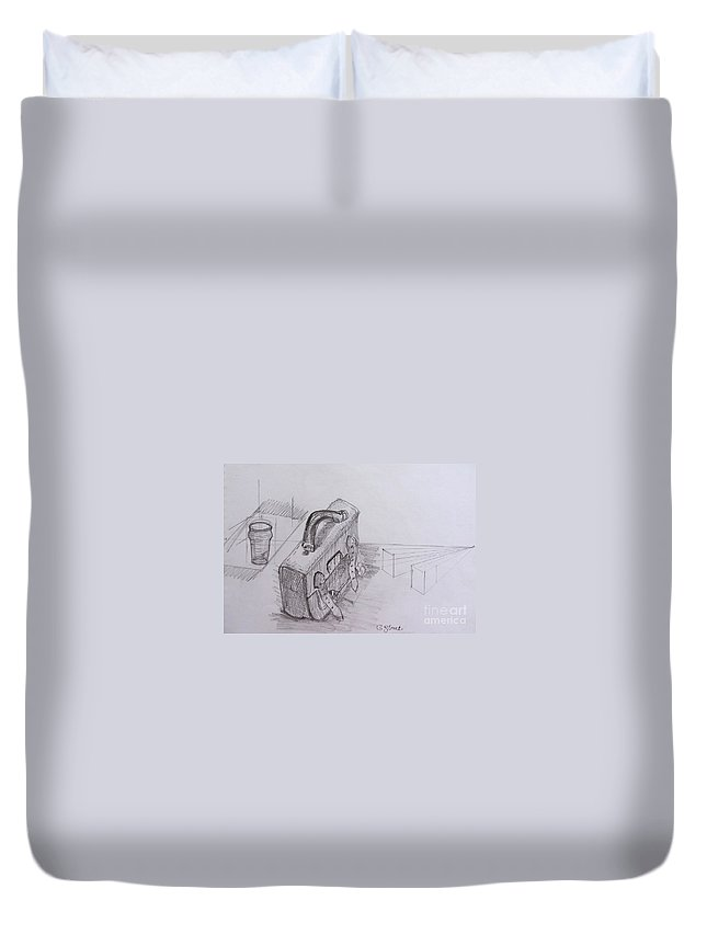 Still Life Duvet Cover featuring the painting Drawing Class. Leather Satchel And Glass by Caroline Street