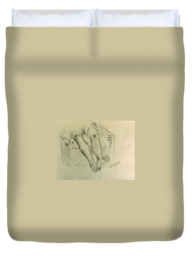 Anatomy Duvet Cover featuring the drawing Drawing Class. Legs And Feet by Caroline Street