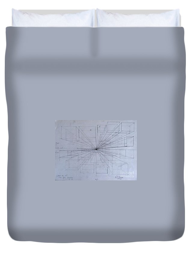 Perspective Duvet Cover featuring the drawing Drawing Class. Perspective by Caroline Street