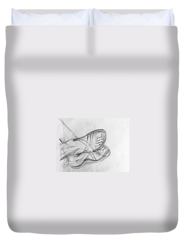 Feet Duvet Cover featuring the drawing Drawing Class. Sandaled Feet by Caroline Street