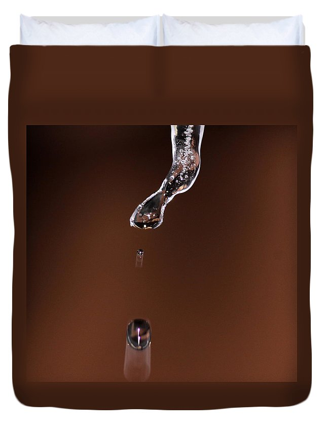 Water Duvet Cover featuring the photograph Drop From And Icicle by Travis Truelove