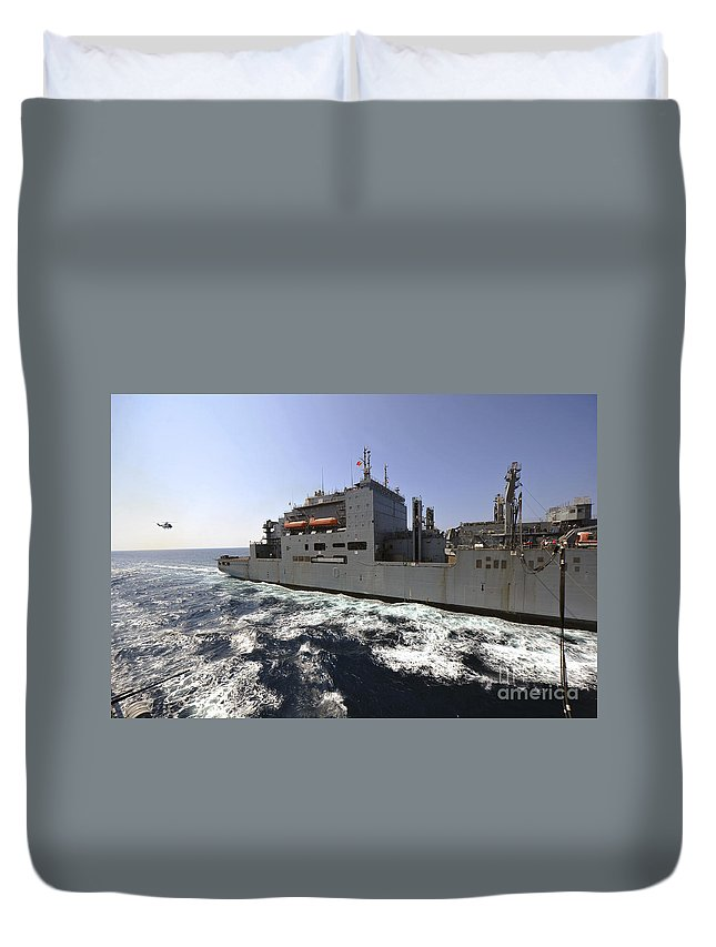 Operation New Dawn Duvet Cover featuring the photograph Dry Cargoammunition Ship Usns Richard by Stocktrek Images