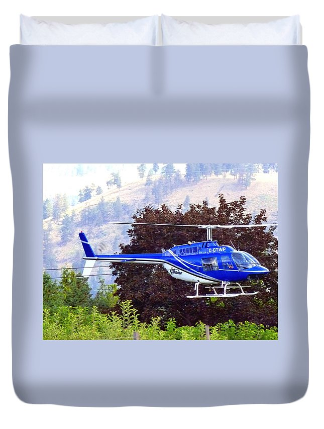 Helicopter Duvet Cover featuring the photograph Drying Off The Cherries by Will Borden