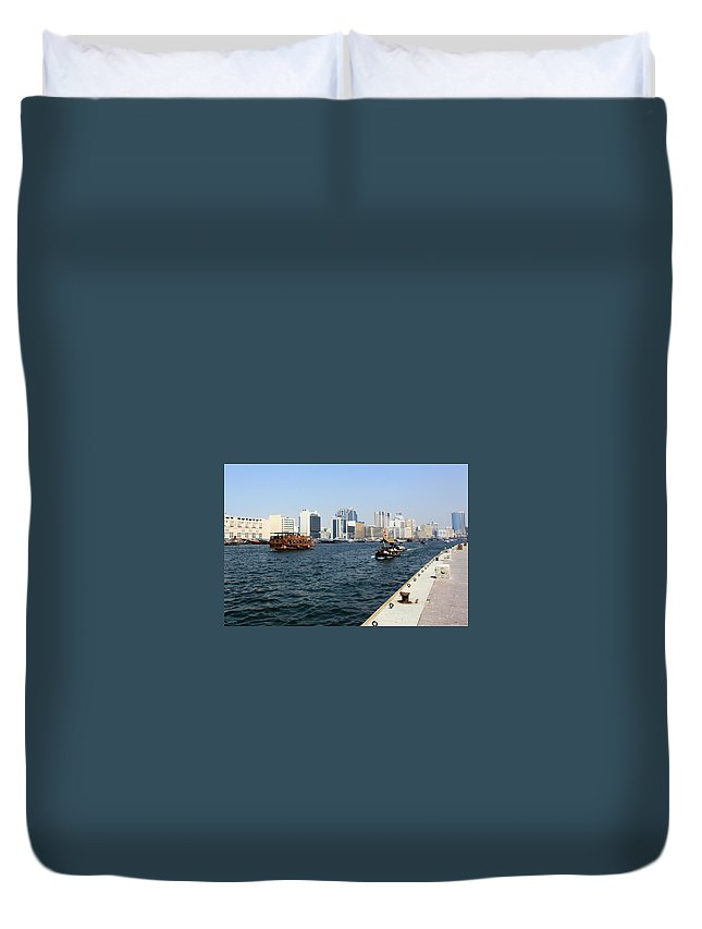 Dubai Duvet Cover featuring the photograph Dubai Pier by Munir Alawi