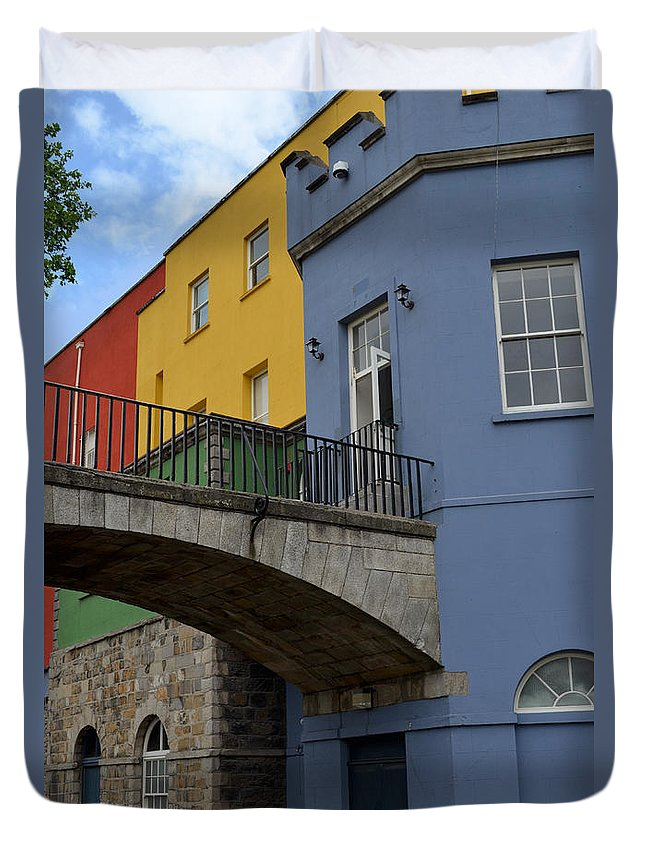 Bridge Duvet Cover featuring the digital art Dublin Castle In Dublin Ireland by Eva Kaufman