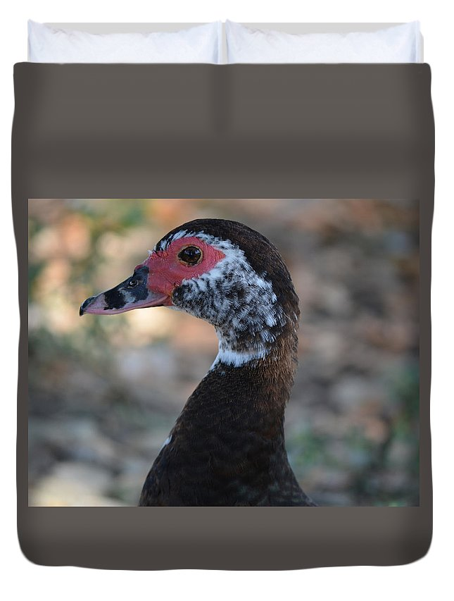 Duck Duvet Cover featuring the photograph Duck Portrait by Maggy Marsh