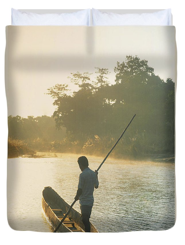 Duvet Cover featuring the photograph Dugout Boat by Darwin Wiggett