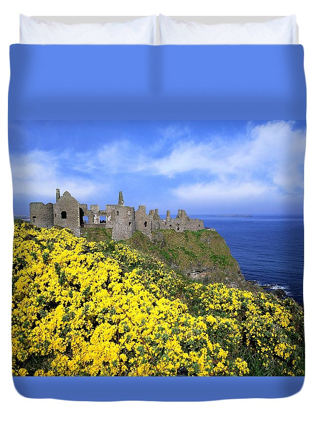 Architectural Exteriors Duvet Cover featuring the photograph Dunluce Castle, Co. Antrim, Ireland by The Irish Image Collection