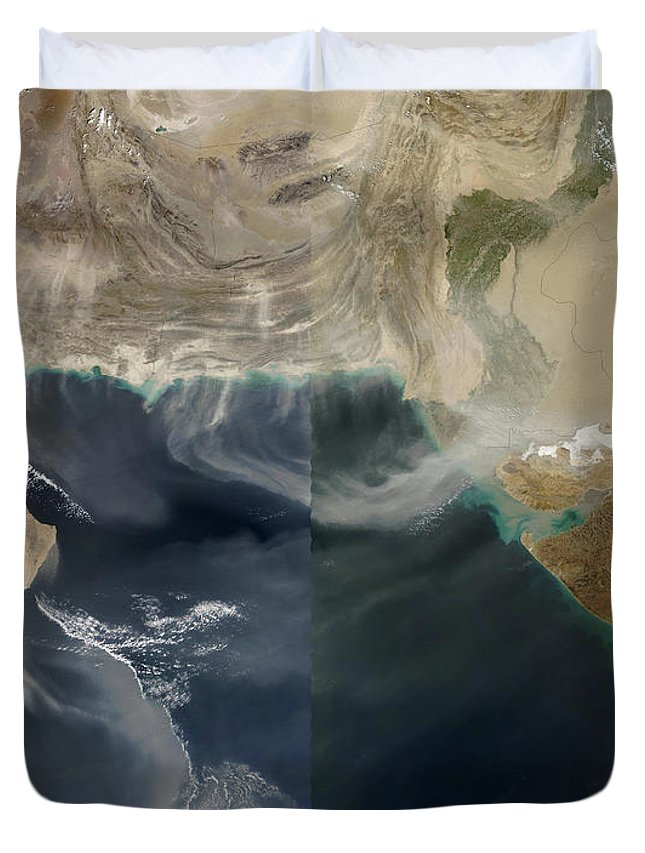 Landscape Duvet Cover featuring the photograph Dust Storms Across Iran, Afghanistan by Stocktrek Images