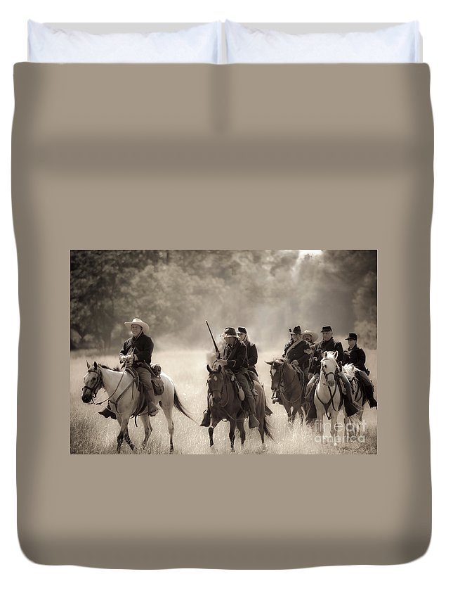 Reenactment Duvet Cover featuring the mixed media Dusty Trail by Kim Henderson