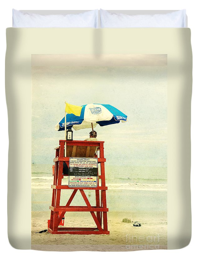 Beach Duvet Cover featuring the photograph Duty Time by Susanne Van Hulst