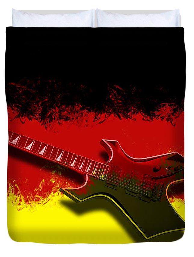String Duvet Cover featuring the photograph E-guitar - German Rock II by Melanie Viola