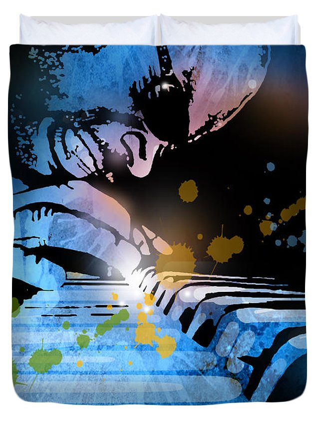 Blues Duvet Cover featuring the painting Earl R Johnson by Paul Sachtleben