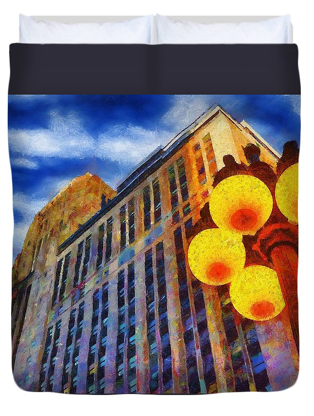 Architecture Duvet Cover featuring the painting Early Evening Lights by Jeffrey Kolker