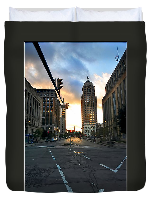 Duvet Cover featuring the photograph Early Morning Court Street by Michael Frank Jr