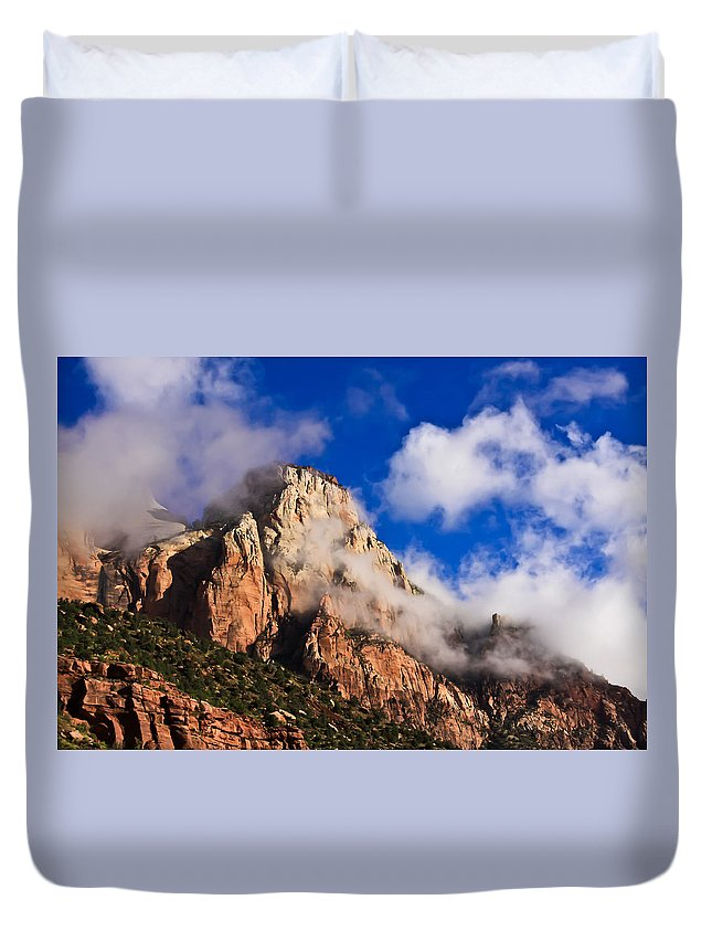 Zion National Park Duvet Cover featuring the photograph Early Morning Zion National Park by Tom and Pat Cory