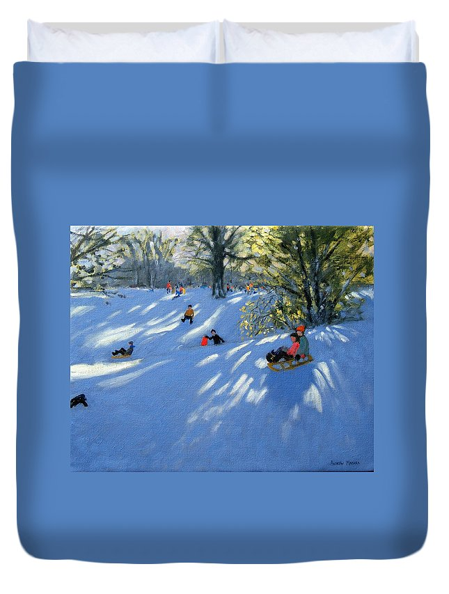 Sledging Duvet Cover featuring the painting Early Snow by Andrew Macara