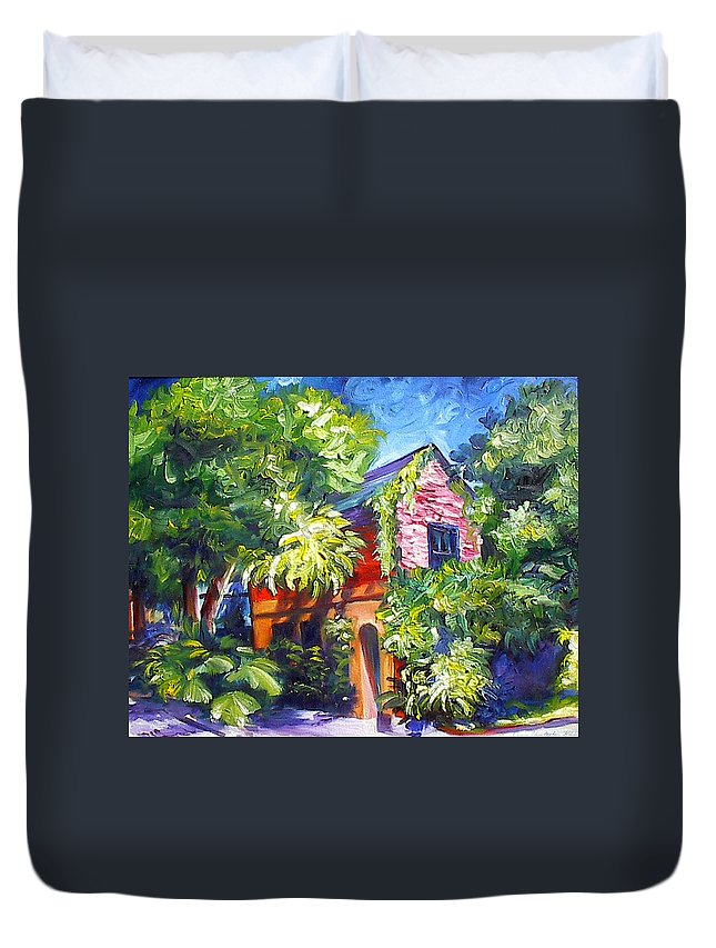 Sky; Impressionist; House; Charleston; Tree; Flowers; Blue; Red; Green; Yellow; Contemporary; Street; Road; Vintage; Old; Southern; Antebellum; James Christopher Hill; Jameshillgallery.com; Ocean; Lakes; Creation; Genesis Duvet Cover featuring the painting East Bay House In Charleston by James Christopher Hill