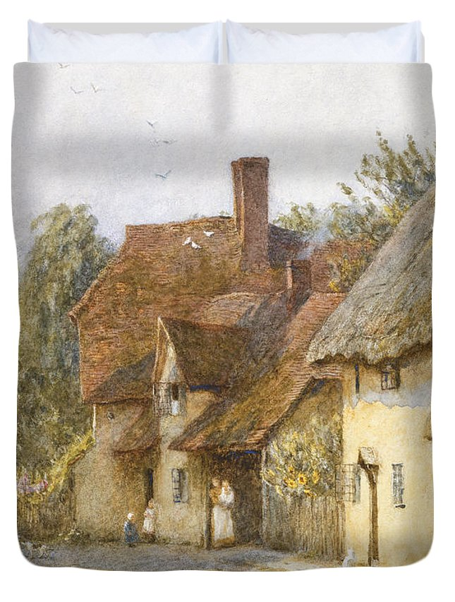 Village; Street Scene; Cottage; Cottages; English; Landscape; Rural; C19th; C20th; Victorian Duvet Cover featuring the painting East Hagbourne Berkshire by Helen Allingham